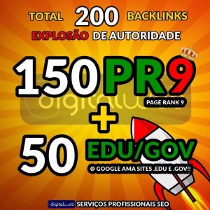 Comprar Backlinks seo 150 Pr9 + 50 Edu/gov Alta Autoridade