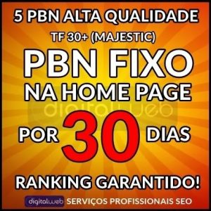 5 Backlinks PBN Fixos 30 Dias Página Inicial Alto TF30+