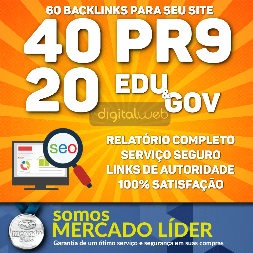 Backlinks Seo 40 Pr9 Da80 a 100 + 20 Links Edu/gov